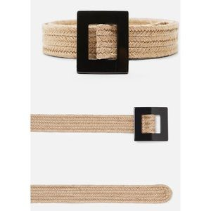 Zara Tan Jute Belt Black Square Buckle Size 32